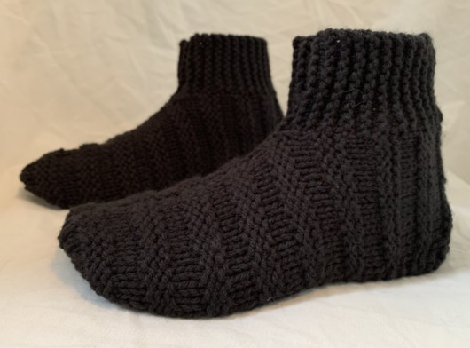 Hand knit black bootie slippers