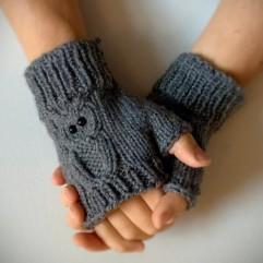 grey owl fingerless glove
