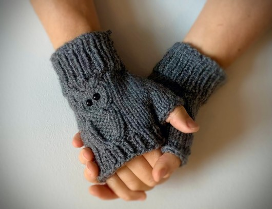 grey owl fingerless glove