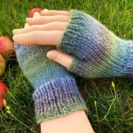 Hand knit fingerless gloves